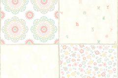 36296-2 cikkszámú tapéta.Feliratos-számos,gyerek,különleges motívumos,virágmintás,bézs-drapp,fehér,narancs-terrakotta,pink-rózsaszín,sárga,türkiz,zöld,gyengén mosható,vlies tapéta
