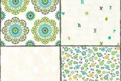 36296-3 cikkszámú tapéta.Feliratos-számos,különleges motívumos,virágmintás,fehér,kék,narancs-terrakotta,szürke,türkiz,zöld,gyengén mosható,vlies tapéta