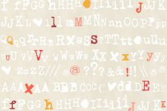 36298-4 cikkszámú tapéta.Feliratos-számos,gyerek,bézs-drapp,fehér,narancs-terrakotta,pink-rózsaszín,gyengén mosható,vlies tapéta