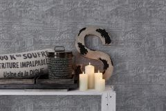 30664-1 cikkszámú tapéta.Feliratos-számos,fémhatású - indusztriális,konyha-fürdőszobai,szürke,súrolható,vlies tapéta