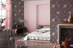 3029-39 cikkszámú tapéta.Dekor tapéta ,gyerek,különleges felületű,virágmintás,barna,pink-rózsaszín,szürke,lemosható,illesztés mentes,vlies tapéta