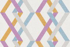 36759-1 cikkszámú tapéta.Absztrakt,geometriai mintás,különleges felületű,fehér,kék,lila,sárga,szürke,lemosható,vlies tapéta