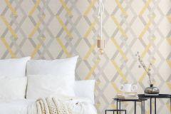 36759-2 cikkszámú tapéta.Geometriai mintás,különleges felületű,fehér,sárga,szürke,lemosható,vlies tapéta
