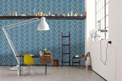 36759-4 cikkszámú tapéta.Absztrakt,geometriai mintás,különleges felületű,bézs-drapp,kék,lemosható,vlies tapéta
