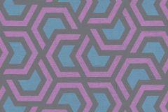 36760-1 cikkszámú tapéta.Absztrakt,geometriai mintás,különleges felületű,barna,kék,lila,lemosható,vlies tapéta