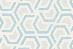 36760-3 cikkszámú tapéta.Absztrakt,geometriai mintás,különleges felületű,bézs-drapp,fehér,kék,lemosható,vlies tapéta
