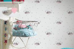 35564-2 cikkszámú tapéta.állatok,gyerek,különleges motívumos,rajzolt,fehér,pink-rózsaszín,szürke,gyengén mosható,vlies tapéta