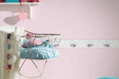35567-2 cikkszámú tapéta.állatok,gyerek,rajzolt,fehér,pink-rózsaszín,szürke,vlies bordűr