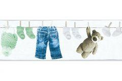 35846-2 cikkszámú tapéta.Gyerek,különleges felületű,különleges motívumos,bézs-drapp,kék,sárga,szürke,zöld,vlies bordűr