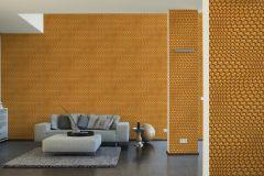 32707-4 cikkszámú tapéta.3d hatású,geometriai mintás,különleges motívumos,narancs-terrakotta,szürke,súrolható,vlies tapéta