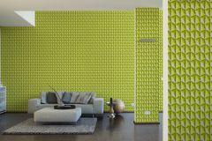 32708-5 cikkszámú tapéta.3d hatású,geometriai mintás,különleges motívumos,zöld,súrolható,vlies tapéta