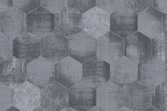 36330-3 cikkszámú tapéta.Absztrakt,fémhatású - indusztriális,geometriai mintás,kék,szürke,súrolható,vlies tapéta