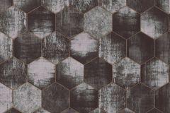36330-4 cikkszámú tapéta.Absztrakt,fémhatású - indusztriális,geometriai mintás,barna,ezüst,fekete,szürke,súrolható,vlies tapéta