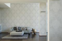 95372-1 cikkszámú tapéta.Barokk-klasszikus,geometriai mintás,különleges motívumos,fehér,szürke,lemosható,vlies tapéta