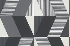 30395-2 cikkszámú tapéta.Csíkos,geometriai mintás,fehér,fekete,szürke,lemosható,vlies tapéta