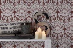 30396-2 cikkszámú tapéta.Barokk-klasszikus,fehér,piros-bordó,lemosható,vlies tapéta