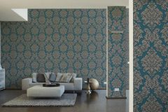 36898-5 cikkszámú tapéta.Barokk-klasszikus,csillámos,különleges felületű,bézs-drapp,kék,lemosható,vlies tapéta