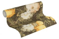 36921-1 cikkszámú tapéta.Barokk-klasszikus,különleges felületű,természeti mintás,virágmintás,narancs-terrakotta,sárga,vajszín,zöld,súrolható,vlies tapéta