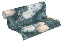 36921-3 cikkszámú tapéta.Barokk-klasszikus,különleges felületű,természeti mintás,virágmintás,kék,vajszín,súrolható,vlies tapéta