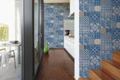 36923-1 cikkszámú tapéta.állatok,konyha-fürdőszobai,különleges felületű,bézs-drapp,fehér,kék,súrolható,vlies tapéta