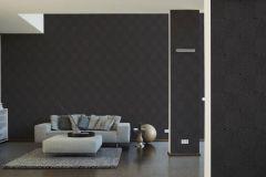 36926-5 cikkszámú tapéta.Absztrakt,geometriai mintás,különleges felületű,ezüst,fekete,súrolható,vlies tapéta