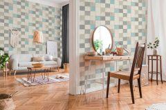 37406-1 cikkszámú tapéta.Konyha-fürdőszobai,marokkói ,bézs-drapp,kék,szürke,súrolható,vlies tapéta