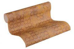 37424-3 cikkszámú tapéta.Absztrakt,geometriai mintás,narancs-terrakotta,súrolható,vlies tapéta
