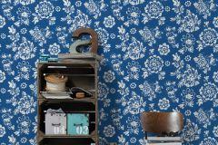 30272-1 cikkszámú tapéta.Virágmintás,fehér,kék,súrolható,vlies tapéta