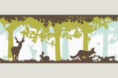 1312-25 cikkszámú tapéta.Gyerek,különleges motívumos,rajzolt,retro,tájkép,természeti mintás,barna,fehér,türkiz,zöld,vlies bordűr