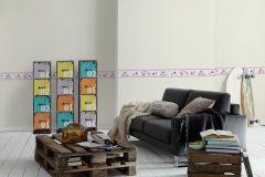 2193-12 cikkszámú tapéta.Feliratos-számos,gyerek,pöttyös,rajzolt,virágmintás,fehér,pink-rózsaszín,szürke,vlies bordűr