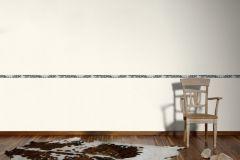 2589-15 cikkszámú tapéta.Különleges motívumos,rajzolt,virágmintás,bézs-drapp,fekete,anyagában öntapadós bordűr