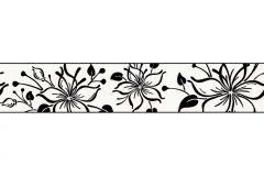 2598-44 cikkszámú tapéta.Különleges motívumos,rajzolt,virágmintás,fekete,szürke,vlies bordűr