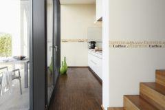 2662-17 cikkszámú tapéta.Feliratos-számos,konyha-fürdőszobai,rajzolt,barna,narancs-terrakotta,anyagában öntapadós bordűr