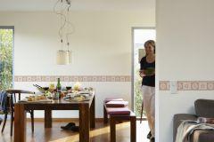 5435-78 cikkszámú tapéta.Geometriai mintás,kockás,konyha-fürdőszobai,kőhatású-kőmintás,rajzolt,barna,pink-rózsaszín,vlies bordűr
