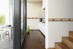 6339-10 cikkszámú tapéta.Feliratos-számos,konyha-fürdőszobai,különleges motívumos,rajzolt,barna,narancs-terrakotta,vlies bordűr