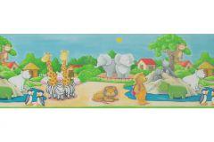 7187-16 cikkszámú tapéta.Gyerek,különleges motívumos,rajzolt,természeti mintás,kék,narancs-terrakotta,pink-rózsaszín,piros-bordó,szürke,zöld,vlies bordűr