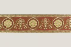 7666-18 cikkszámú tapéta.Barokk-klasszikus,különleges felületű,különleges motívumos,metál-fényes,rajzolt,arany,barna,piros-bordó,vlies bordűr