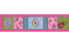 8657-17 cikkszámú tapéta.Barokk-klasszikus,csipke,gyerek,különleges motívumos,pöttyös,rajzolt,virágmintás,kék,pink-rózsaszín,sárga,zöld,vlies bordűr
