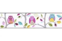 8955-23 cikkszámú tapéta.Gyerek,különleges motívumos,rajzolt,természeti mintás,kék,pink-rózsaszín,sárga,szürke,türkiz,anyagában öntapadós bordűr
