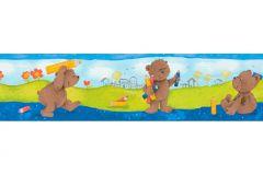 8960-18 cikkszámú tapéta.Absztrakt,gyerek,különleges motívumos,rajzolt,barna,kék,narancs-terrakotta,sárga,zöld,anyagában öntapadós bordűr
