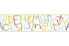 8966-12 cikkszámú tapéta.Feliratos-számos,gyerek,rajzolt,kék,narancs-terrakotta,piros-bordó,sárga,szürke,türkiz,zöld,anyagában öntapadós bordűr