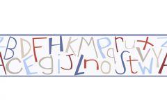8966-29 cikkszámú tapéta.Feliratos-számos,gyerek,rajzolt,retro,bézs-drapp,kék,piros-bordó,anyagában öntapadós bordűr