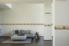 8985-17 cikkszámú tapéta.Feliratos-számos,konyha-fürdőszobai,különleges motívumos,rajzolt,barna,fehér,narancs-terrakotta,anyagában öntapadós bordűr