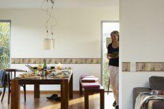 8989-13 cikkszámú tapéta.Absztrakt,konyha-fürdőszobai,kőhatású-kőmintás,különleges motívumos,rajzolt,barna,bézs-drapp,narancs-terrakotta,anyagában öntapadós bordűr
