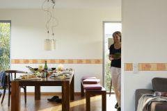 9006-47 cikkszámú tapéta.Geometriai mintás,kockás,konyha-fürdőszobai,kőhatású-kőmintás,különleges motívumos,rajzolt,barna,narancs-terrakotta,anyagában öntapadós bordűr