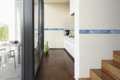 9032-11 cikkszámú tapéta.Különleges motívumos,tájkép,3d hatású,fotórealisztikus,konyha-fürdőszobai,fehér,kék,zöld,anyagában öntapadós bordűr