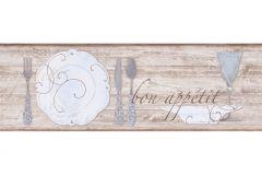 9073-18 cikkszámú tapéta.Absztrakt,fa hatású-fa mintás,feliratos-számos,konyha-fürdőszobai,különleges motívumos,rajzolt,barna,kék,szürke,anyagában öntapadós bordűr