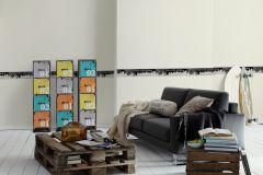 93567-1 cikkszámú tapéta.Feliratos-számos,gyerek,különleges motívumos,rajzolt,bézs-drapp,fekete,vlies bordűr