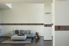 94025-3 cikkszámú tapéta.Különleges motívumos,rajzolt,narancs-terrakotta,szürke,vlies bordűr