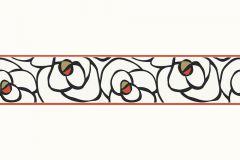 94026-3 cikkszámú tapéta.Különleges motívumos,rajzolt,virágmintás,fehér,fekete,piros-bordó,vlies bordűr